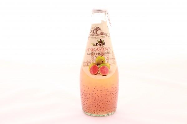 Mr. Basil Pinke Guave Fruchtgetränk mit Basilikumsamen